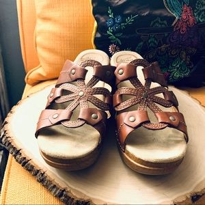 DANSKO Reddish Brown Leather Slides Clogs EURO 37